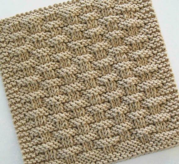 Knitting Pattern Basket Weave Dishcloth : Cotton Dishcloth Knit Basketweave Dishcloth Knitted