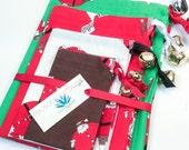 Reusable Christmas Gift Bags - Set of Four - Sock Monkey Santa Claus