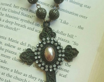 Byzantine Style Vintage Pearl and Rhinestone Assemblage Cross Necklace Repurposed Jewelry