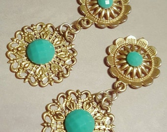 Bohemian Gold Teal Dangle Plugs Gauges Everyday Wedding Prom 00g, 7/16ths, 1/2, 9/16ths