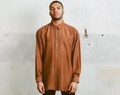 Vintage 90s Men's SILK Shirt . Brown 1990s Oversized Skater Long Sleeve Beach Summer Shirt Boyfriend Gift Hipster . Large XL XXL