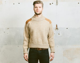 Vintage Mens SWEATER . 90s Space Dye Speckled Knitted Wool Blend Cozy Plain Jumper Winter Pullover Normcore . Medium Large