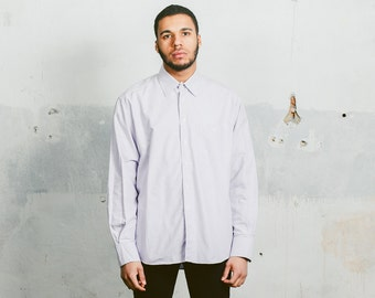 Vintage 90s GIORGIO ARMANI Shirt . Mens Pastel Purple Smart Cotton Normcore Minimalist Plain Button Down Shirt Boyfriend Gift .  Extra Large
