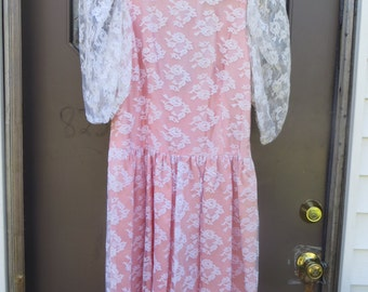 1980s white     floral lace peach satin party dress low back