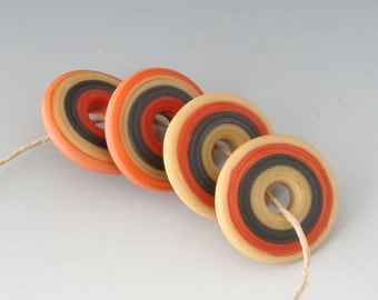 Southwest Disk Pairs- (4) Handmade Lampwork Beads - Rust, Caramel - Etched, Matte