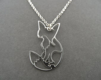 fox necklace, shy fox necklace, fox jewelry, fox pendant, gold fox, fox charm, silver fox,  silver fox necklace, gift for her