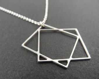 two squares necklace, geometric jewelry, square jewelry, silver necklace