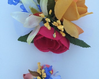 Boutonniere Wrist Corsage Set Ranunculuc Orchid Rose Orange Yellow Hot Pink Blue Silk Handmade Formal Prom Wedding Ceremony Picture