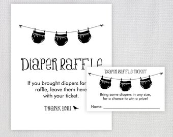 Diaper Raffle Ticket / Instant Download / Baby Shower Printable Raffle Ticket and display sign / Diapers on Clothesline / PRINTABLE / #5240