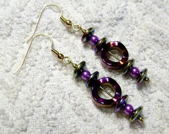 Purple Drop Earrings - Purple Earrings - Drop Earrings - Purple - Dangle Earrings - E-146