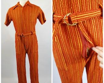 Rare 1970s Mens Safari Jumpsuit - 70s Mens Jumpsuit - Marshall Field and Co