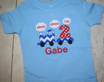 Choo Choo I'm One Two Three Custom Train Birthday Number or Initial Applique Shirt- Free Personalization- Monogrammed