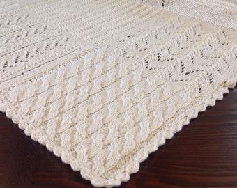 Vintage Hand Knit Throw / Bedspread