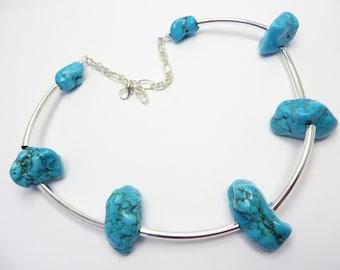 Chunky Turquoise Stone Necklace Southwest Boho Free Shipping