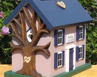 Small Card Box for Wedding Birdhouse with Heart Carved Tree