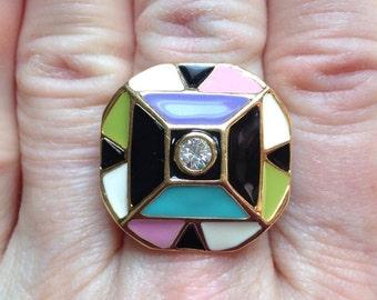 COLORFUL ENAMEL RING, Upcycled Jewelry, w/Rhinestone, Large, Adjustable Band, Repurposed,Ooak, Under 10 Dollars