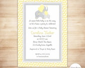Yellow Elephant Baby Shower Invitation - Gender Neutral Baby Shower Invitation - Yellow and Gray Chevron - EDITABLE - INSTANT DOWNLOAD