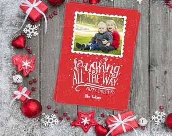 Christmas Photo Card - Christmas Card - Printable Photo Card - Red Laughing All the Way