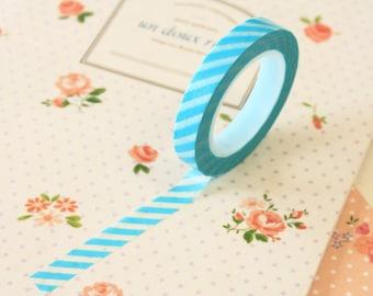 Sky Blue Stripes Thin Washi Masking Tape