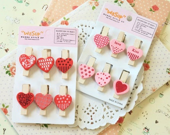 Wasup Love Heart Wooden Pegs note clips