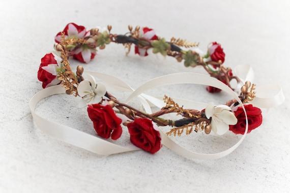 gold bridal accessories, Flower for hair, Bridal hair crown for Wedding, flower hair wreath, bridal hair flower