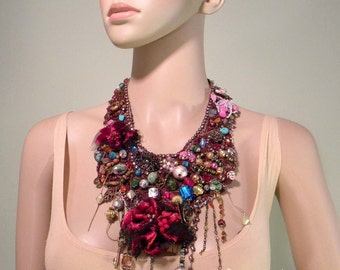 EXQUISITE BOHEMIAN NECKLACE - Signature Accessory, Wearable Fiber Art Jewelry, Freeform Crocheted, Richly Hand Beaded & Embroidered