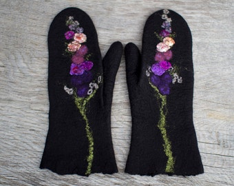 Black mittens with lavender flowers purple felted mittens merino wool gloves women mittens arm warmes winter mittens Christmas gift