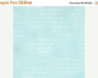 25 Off Sale LOVE LETTERS Aqua blue shabby quilting sewing lettering fabric Sentimental Studios Moda script blender tonal 1 yard 32037-17