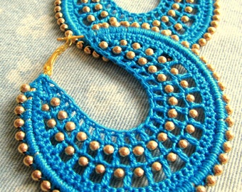 Crochet Hoops in Turquoise with Gold beads