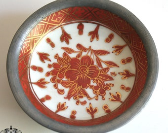 Vintage Asian Porcelain Ashtray with Pewter Trim - Red and Gilt Hand Painted Design