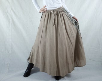 Boho Hippie Gpysy Full Circle Brownish Beige Light Cotton Skirt With Lining