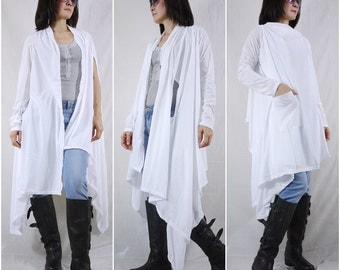 2 in 1 - Long Sleeve Or Sleeveless Asymmetrical Hem White Cotton Mix Polyester Tunic Wrap Cardigan Or Vest