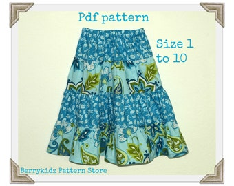 Toddler skirt pattern, Infant sewing pattern, Easy Pdf pattern, Easy Pattern, Girl skirt pattern - 4 Tier twirl skirt pattern (S112)