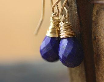 Deep Blue Lapis Lazuli Earrings,  Gold Earrings,  Pyrite Drop Dangle Earrings,  Birthday Gift Present Wife Girlfriend Mom Daughter