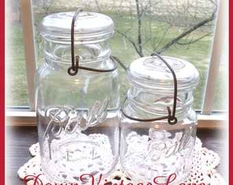 2 Ball IDEAL Clear Quart and Pint Jars with Wire Handles Vintage Jars for Storage, Canning,