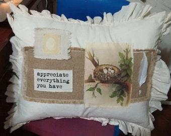 "Pillow Slip Cover Sham Burlap Muslin ""scrapbook"" appreciate everything you have"