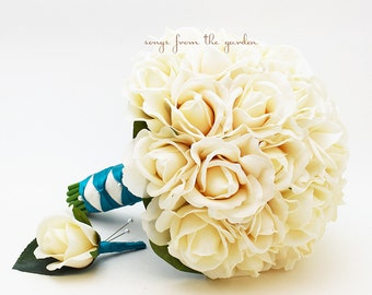 Ivory Real Touch Roses Bridal Bouquet Groom's Boutonniere with Teal Ribbon - Customize For Your Wedding Colors