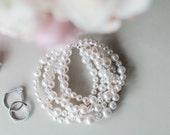 Pearl Cuff Bracelet, Chunky Wedding Bracelet, Ivory Pearl Bridal Bracelet. Swarovski Bridal Bracelet
