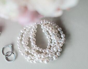 Bridal Bracelet, Pearl Bracelet Wedding, Bridal Cuff Bracelet, Ivory Pearl Cuff Bracelet, Wedding Jewelry