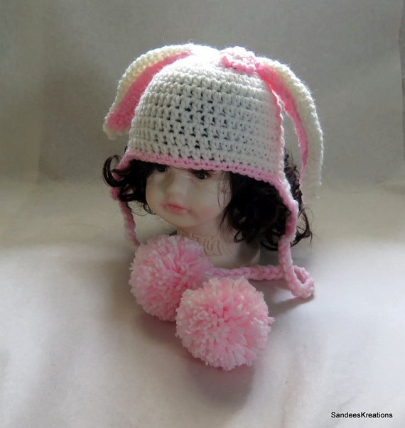 Crochet Hat Pattern For 8 Month Old : Bunny Hat White Beanie Crochet Cap 6-12 Month by ...