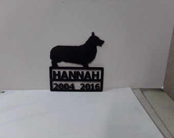 Pembroke Corgi with Name Metal Silhouette Small Wall Yard Dog Art