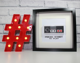 NES STYLE CONTROLLER - Framed - Retro Gaming - Awesome