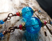 earrings blue hollow lucite vintage beads