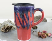 IN STOCK Red Travel mug, Ceramic Coffee cup with handle, To go coffee cup, handmade boho hostess gifts by BlueRoomPottery