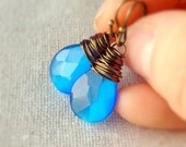 Cobalt Blue Earrings, Blue Glass, Cats Eye, Royal Blue, Teardrop Earrings, Antiqued Brass, Wire Wrapped, Bridesmaid Earrings