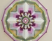Falltime Flowering, 18 inch, 12-sided yarn mandala, by custom order