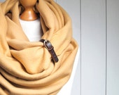 extra CHUNKY jerseyInfinity Scarf with leather cuff, winter fashion infinity scarf, honey yellow snood