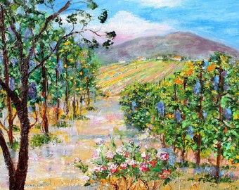 Original oil painting California Wine Country - Napa Vineyard abstract palette knife impressionism on canvas fine art by Karen Tarlton