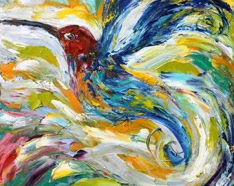 Original oil painting Hummingbird Dance palette knife impressionism on canvas fine art by Karen Tarlton