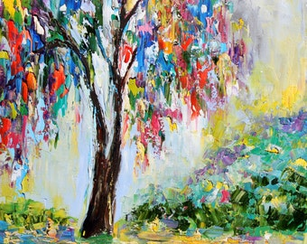 Original oil painting Colorful Willow Tree canvas cow palette knife modern texture fine art impressionism by Karen Tarlton
